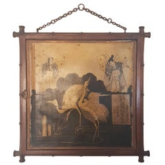 19th Century Miroir Brot Faux Bamboo and Chinoiserie Tryptic Mirror