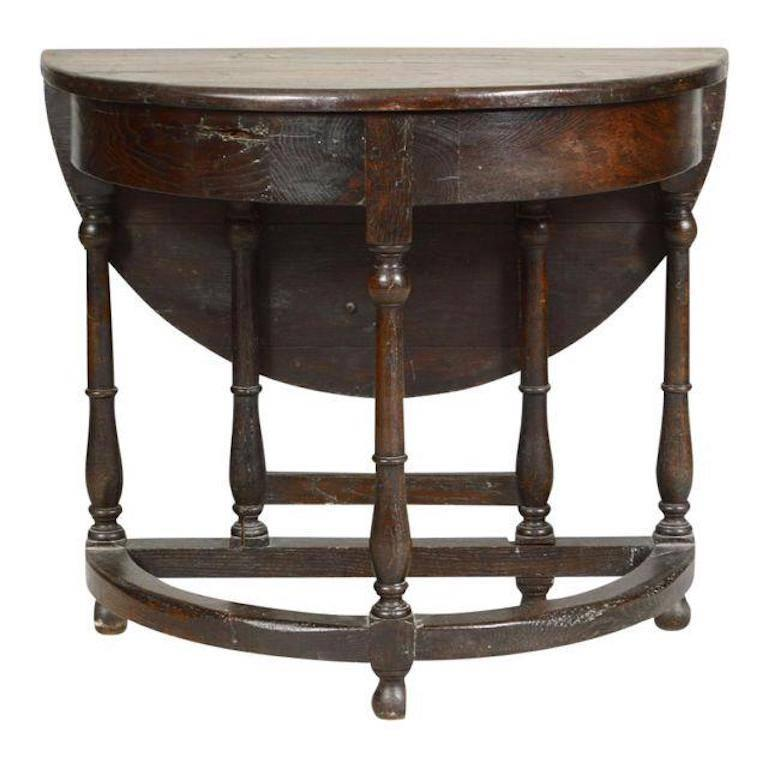 19th Century Mizner Style Oak Drop-Leaf Gate-Leg Demilune Table