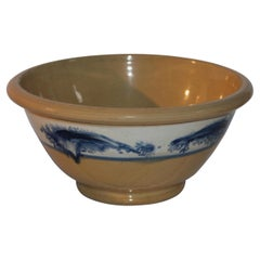 19th Century Mocha Blue Seaweed Yellow Ware Mixing Bowl