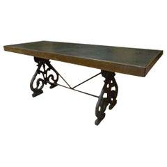 19th Century Molten Iron Table with Black Slate Stone Board