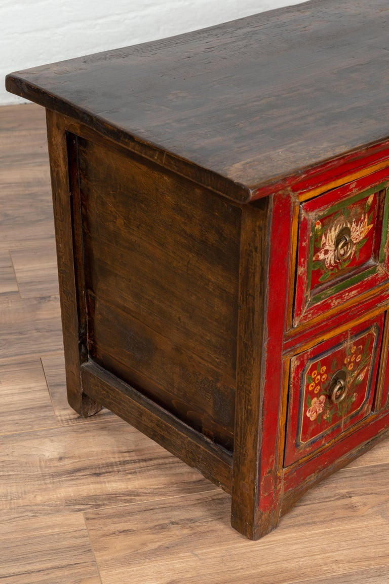 Mongolian Red Lacquered Cabinet With Hand Painted Fl Décor Circa 1900 For 7
