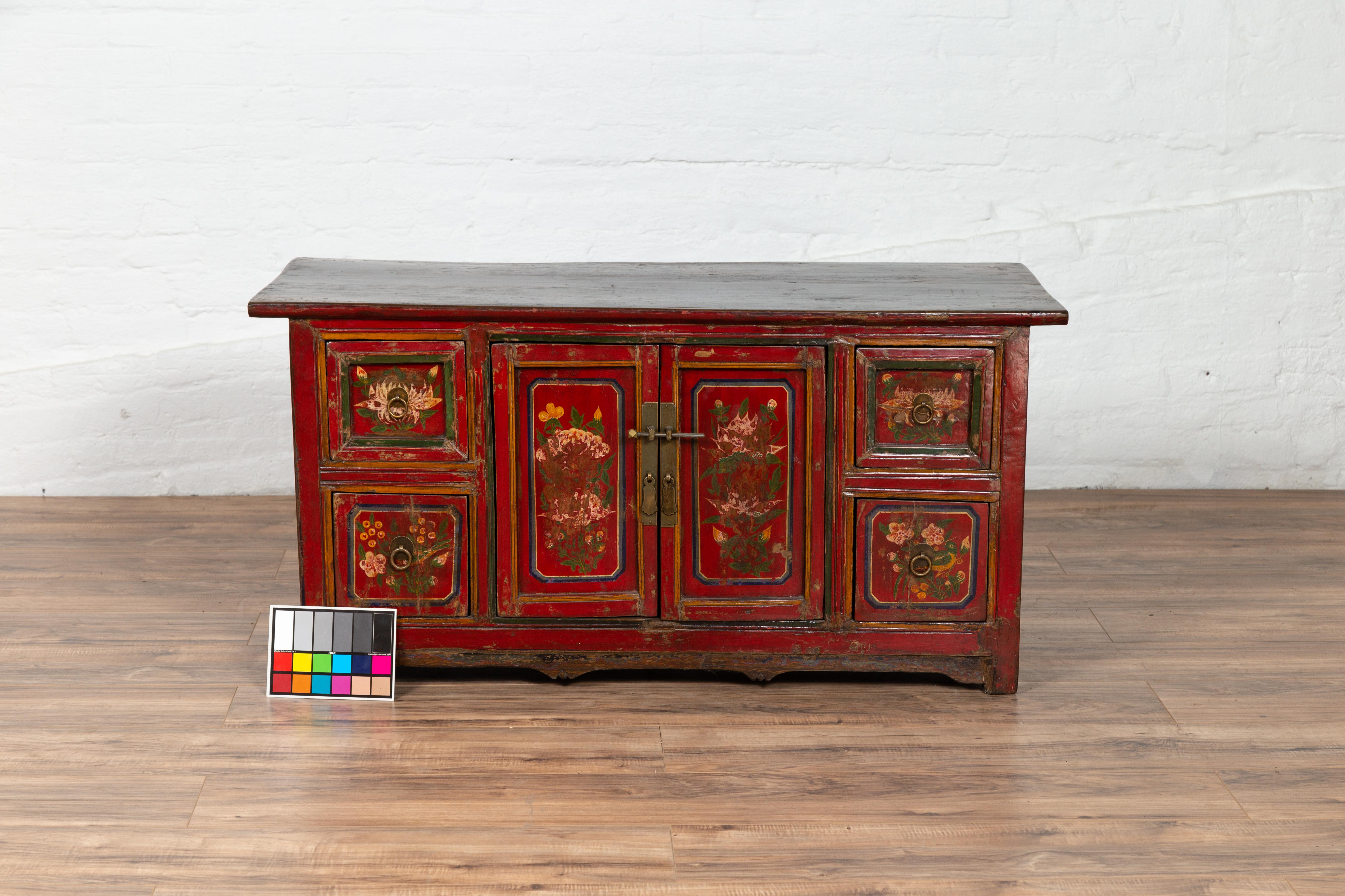 Mongolian Red Lacquered Cabinet With Hand Painted Fl Décor Circa 1900 For At 1stdibs
