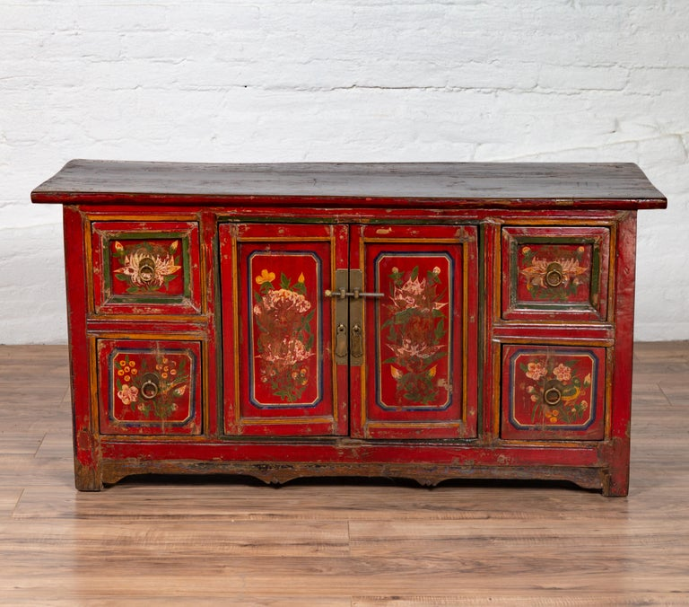 Mongolian Red Lacquered Cabinet with Hand Painted Floral ...
