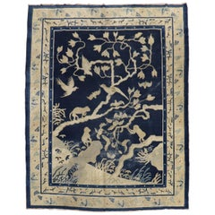 19th Century Monkey Pictorial Chinese Rug
