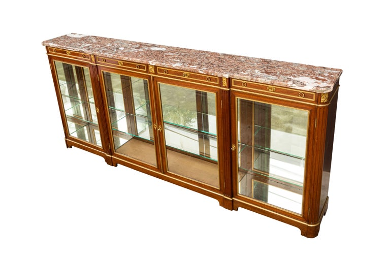 19th Century Monumental French Bronze Mounted Bookcase/Vitrine For Sale 14