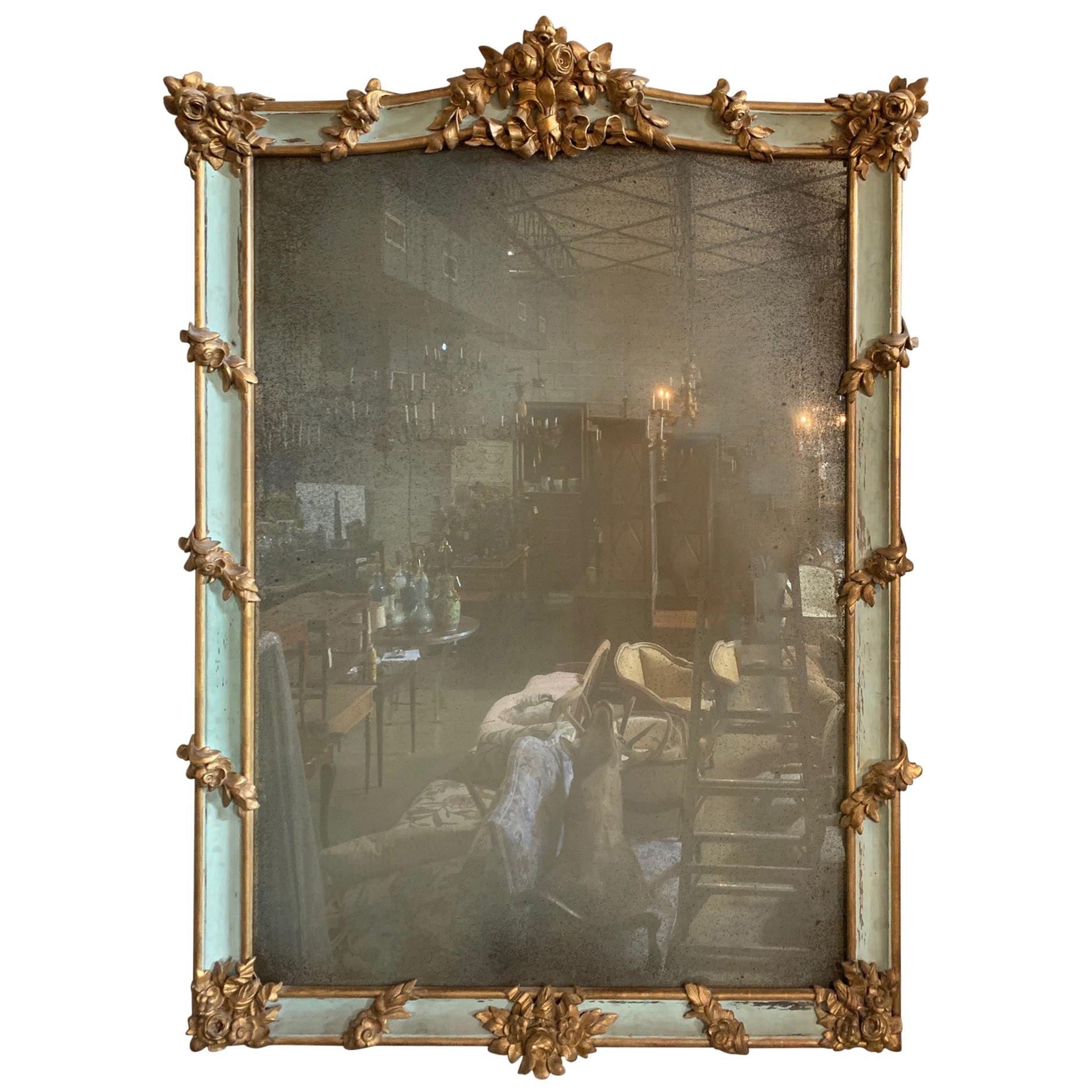 19th Century Monumental French Napoleon III Carved Painted & Parcel Gilt Mirror