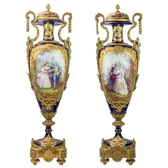 19th Century Monumental Pair of Sevres Style Ormolu Mounted Vases