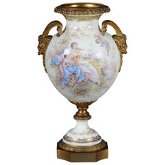 19th Century Monumental Sèvres Pomp Vase with Bronze Mounting