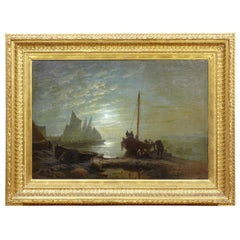 19th Century Moonlight Harbour Oil on Canvas by Albert Berg