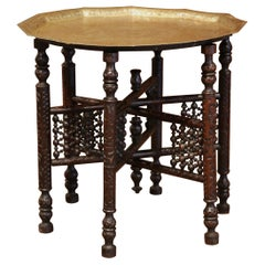 19th Century Moroccan Carved Six-Leg Folding Table Base with Engraved Brass Top