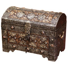 19th Century Moroccan Gothic Repousse Silver and Gilt Copper Treasure Chest