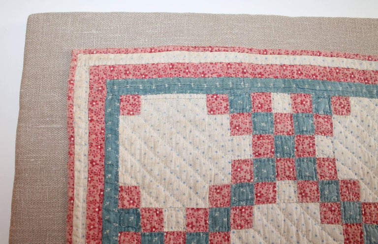 Country 19th Century Mounted Doll Quilt, Postage Stamp Chain For Sale