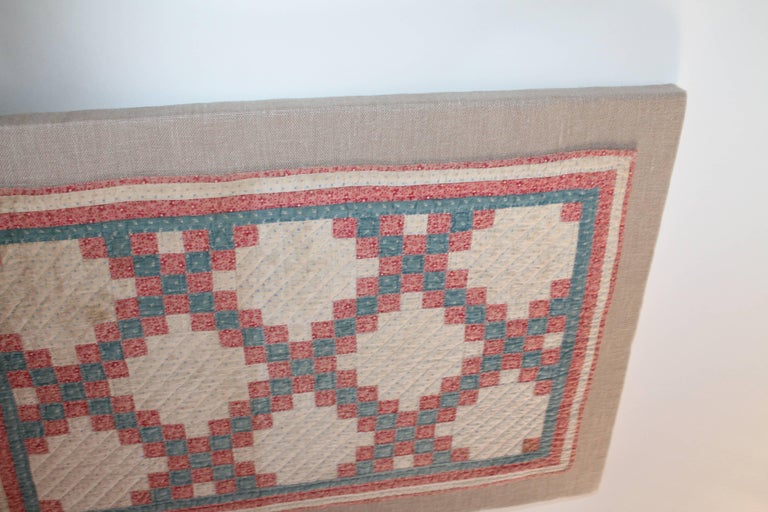 Hand-Crafted 19th Century Mounted Doll Quilt, Postage Stamp Chain For Sale