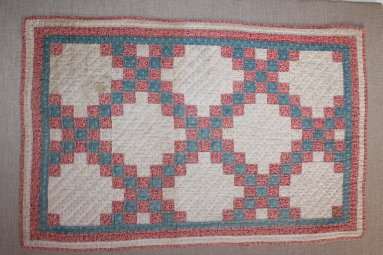 19th Century Mounted Doll Quilt, Postage Stamp Chain In Excellent Condition For Sale In Los Angeles, CA