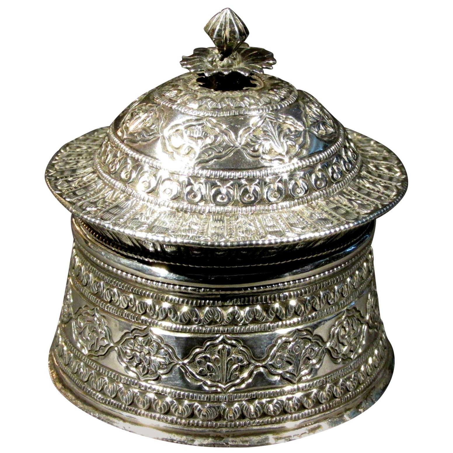19th Century Mughal Style Silver Pandan / Betel Box, Northern India