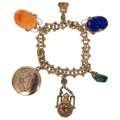 19th Century Multi-Gem Charm Bracelet