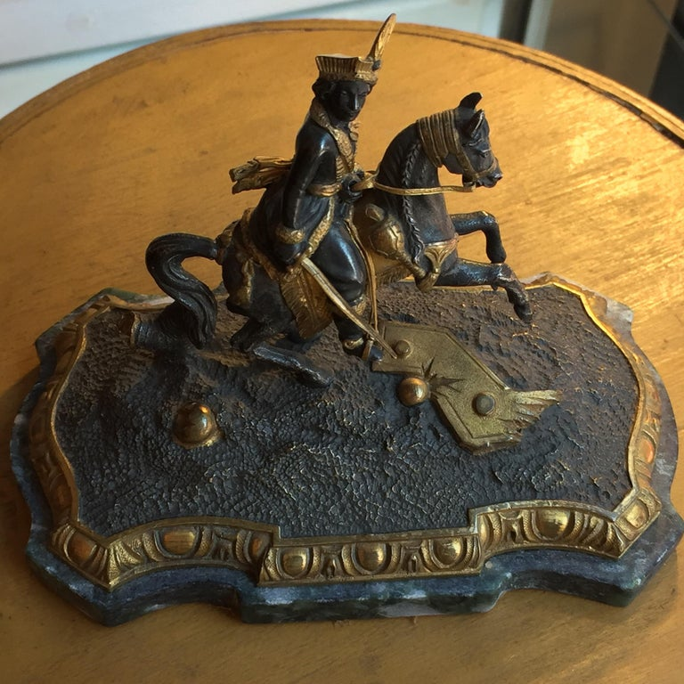 19th Century Murat Equestrian Figure French Silvered and Gilded Bronze Knight For Sale 13