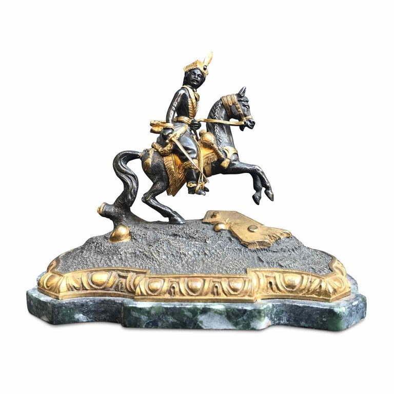 Gilt 19th Century Murat Equestrian Figure French Silvered and Gilded Bronze Knight For Sale