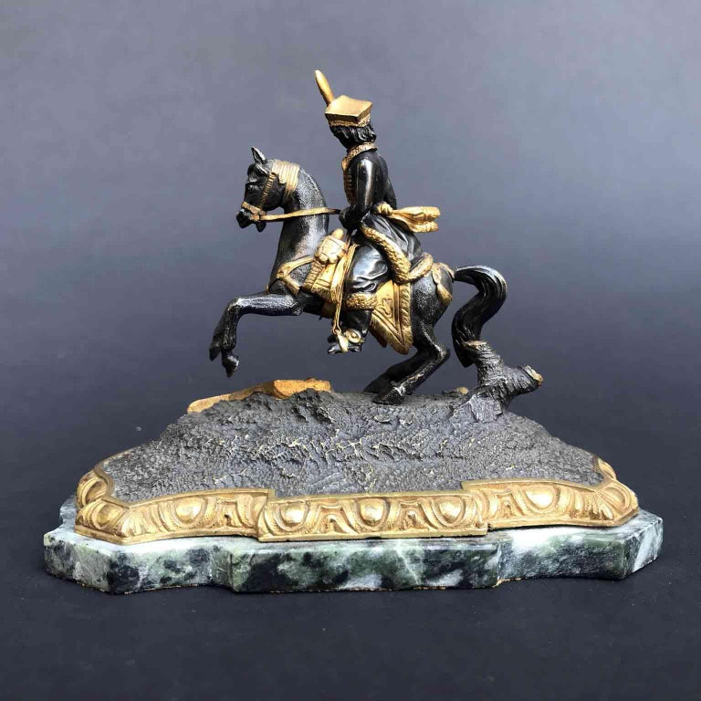 19th Century Murat Equestrian Figure French Silvered and Gilded Bronze Knight In Good Condition For Sale In Milan, IT