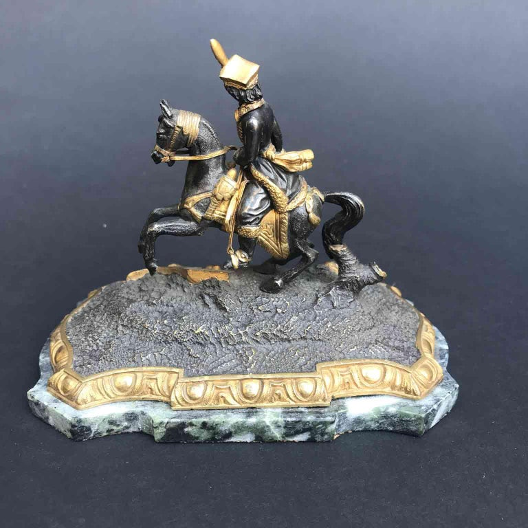 19th Century Murat Equestrian Figure French Silvered and Gilded Bronze Knight For Sale 1