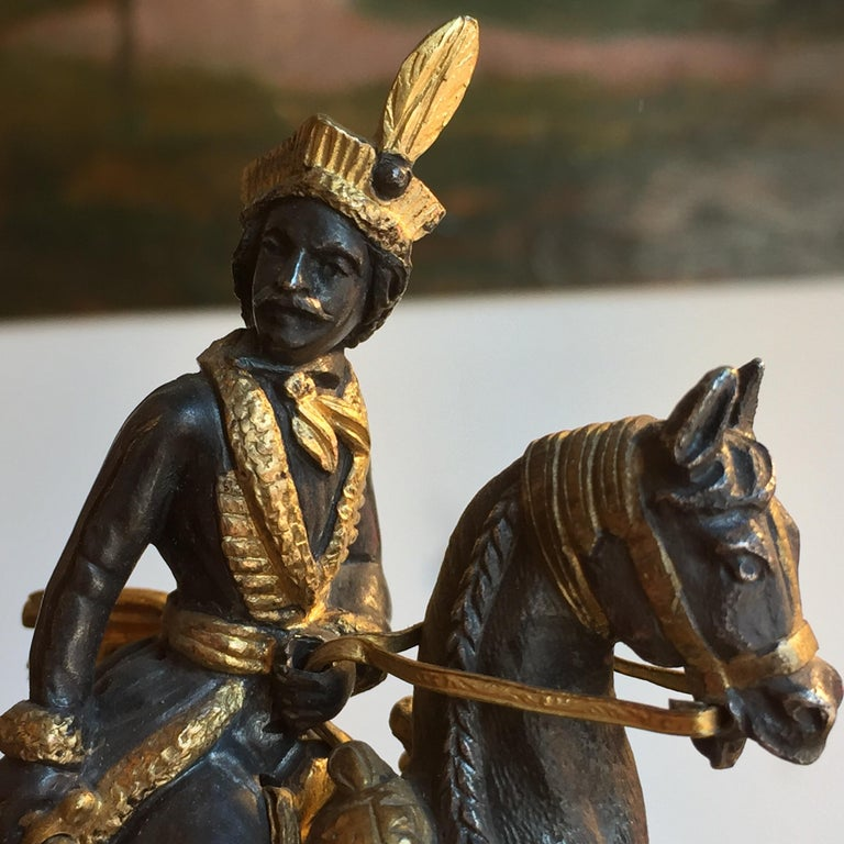 19th Century Murat Equestrian Figure French Silvered and Gilded Bronze Knight For Sale 3