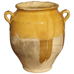 19th Century Mustard Yellow French Confit Pot