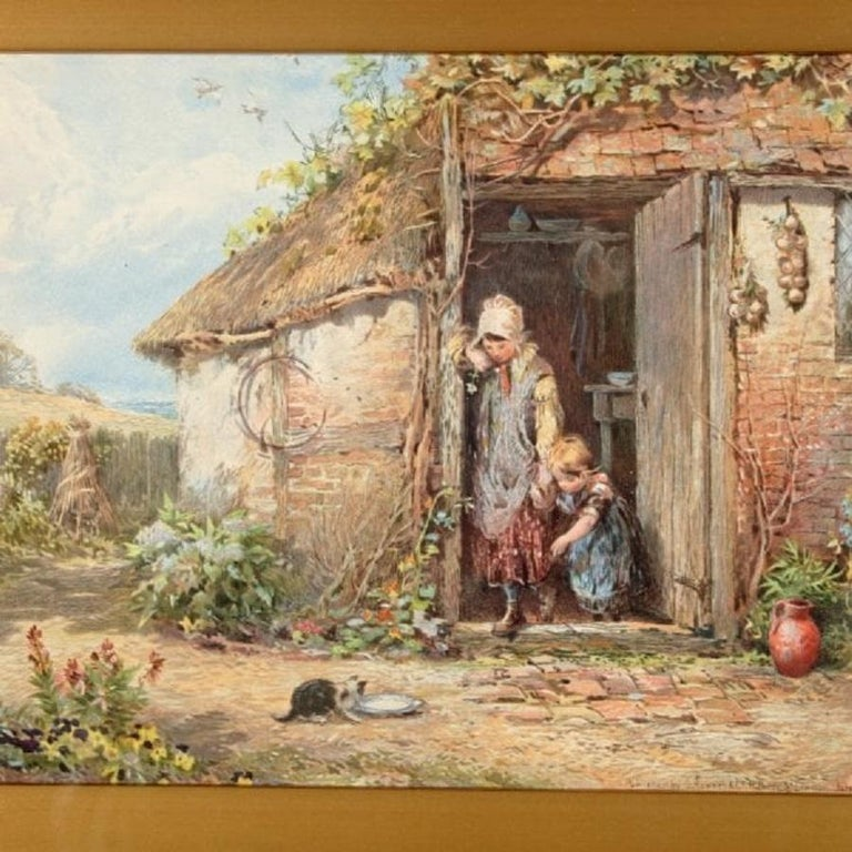A 19th century Victorian coloured print of a Myles Birket Foster Watercolour.  The picture titled