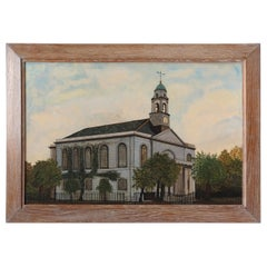 19th Century Naive Watercolor Painting, Architectural, Colonial Church