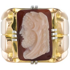 19th Century Napoleon 3 Agate Cameo 18 Karat Yellow Gold Man Signet Ring