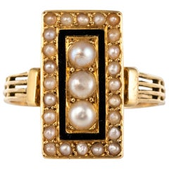 19th Century Napoleon 3 Black Enamel Natural Pearls Ring