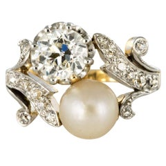 19th Century Napoleon 3 Diamond Natural Pearl You and Me Engagement Ring