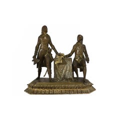 19th Century 'Napoleon Bonaparte and the Duke of Cobentzel' Hystorical Bronze