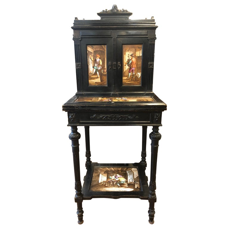 19th Century Napoleon III° Black Bureau Ceramic Painted, 1850 For Sale