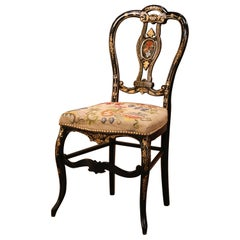 19th Century Napoleon III Black Lacquered and Gilt Decorative Chair