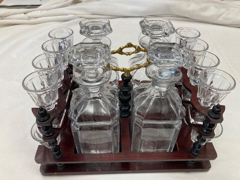 19th Century Napoleon III Brass and Glass Liquor Cellar, 1870s For Sale 4