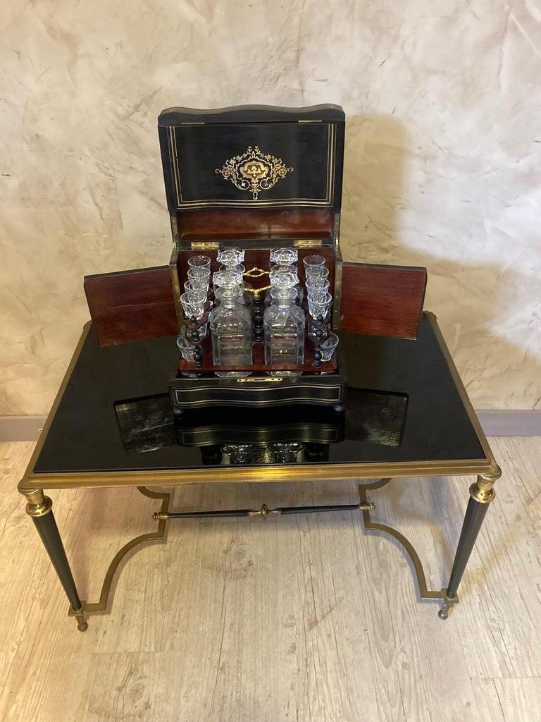 19th Century Napoleon III Brass and Glass Liquor Cellar, 1870s For Sale 11