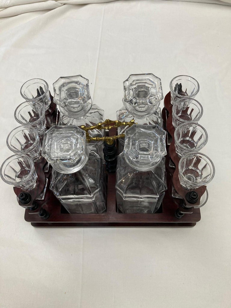 19th Century Napoleon III Brass and Glass Liquor Cellar, 1870s For Sale 3
