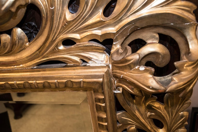 19th Century Napoleon III , Carved and Golden Wood French Mirror, 1880 For Sale 5