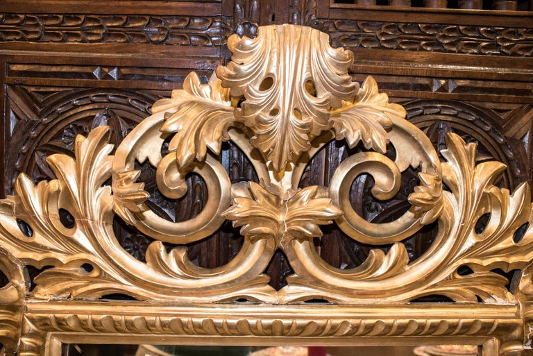 Hand-Crafted 19th Century Napoleon III , Carved and Golden Wood French Mirror, 1880 For Sale