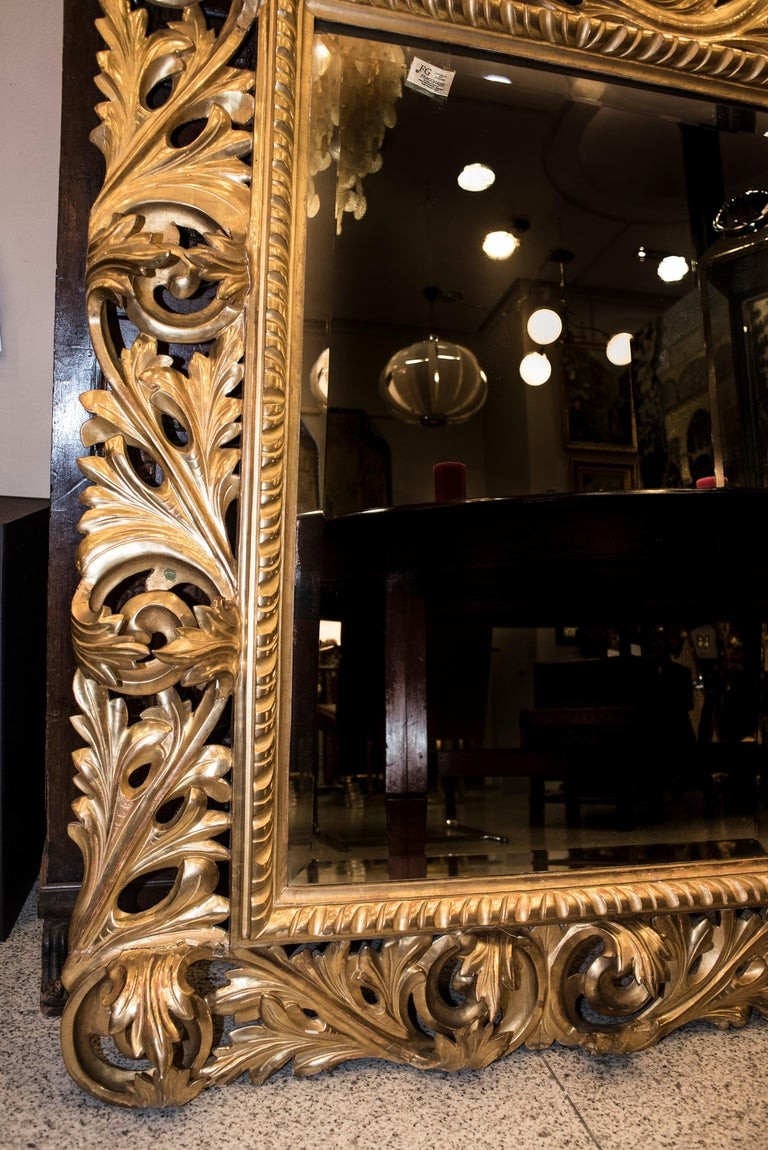 19th Century Napoleon III , Carved and Golden Wood French Mirror, 1880 In Good Condition For Sale In Valladolid, ES