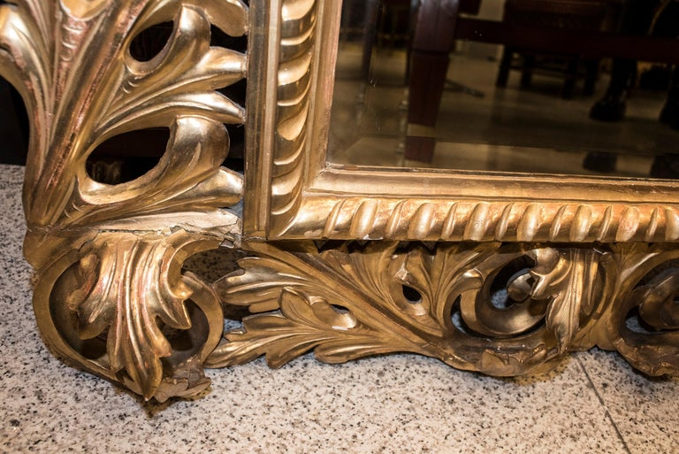 19th Century Napoleon III , Carved and Golden Wood French Mirror, 1880 For Sale 1