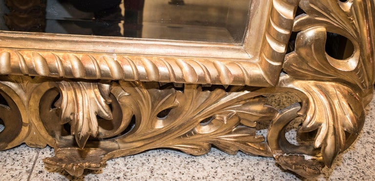 19th Century Napoleon III , Carved and Golden Wood French Mirror, 1880 For Sale 2
