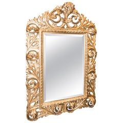 19th Napoleon III Mirror  , Carved and Golden Wood French Mirror, 1880