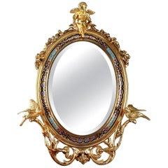 19th Century Napoleon III Champlevé Enameled Gilt Bronze Standing Mirror
