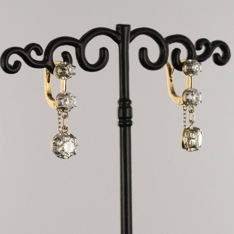 19th Century Napoleon III  Diamond Dangle Earrings In Excellent Condition For Sale In Poitiers, FR