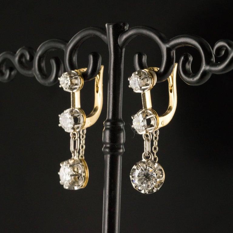 Women's 19th Century Napoleon III  Diamond Dangle Earrings For Sale