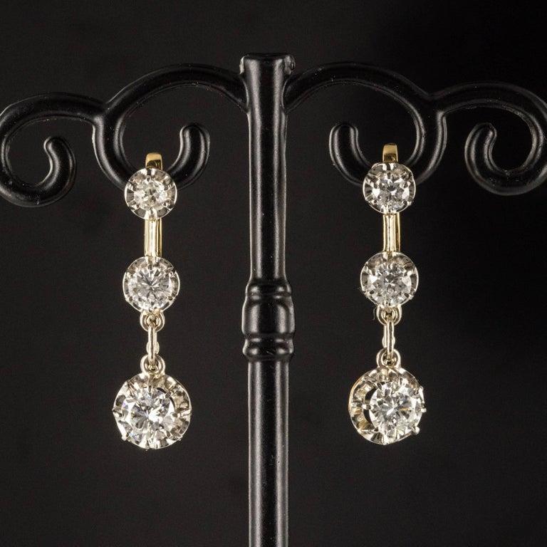 19th Century Napoleon III  Diamond Dangle Earrings For Sale 1