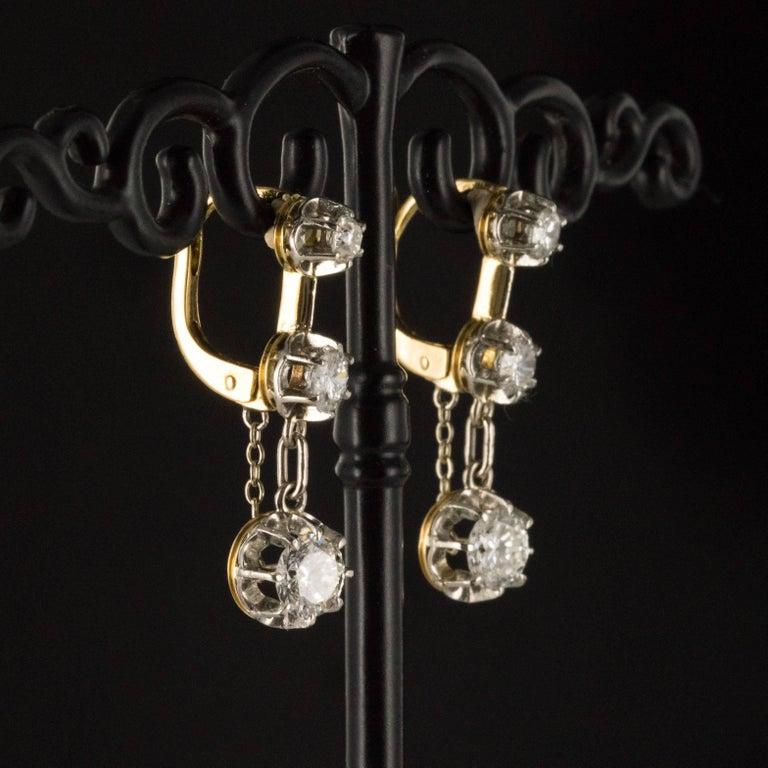 19th Century Napoleon III  Diamond Dangle Earrings For Sale 2