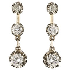 19th Century Napoleon III  Diamond Dangle Earrings