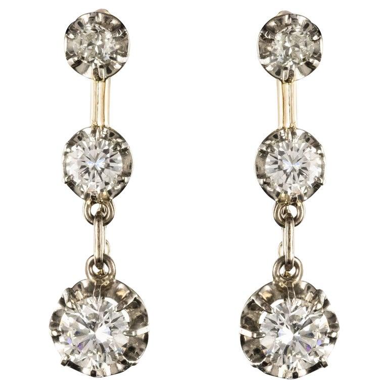 19th Century Napoleon III  Diamond Dangle Earrings For Sale